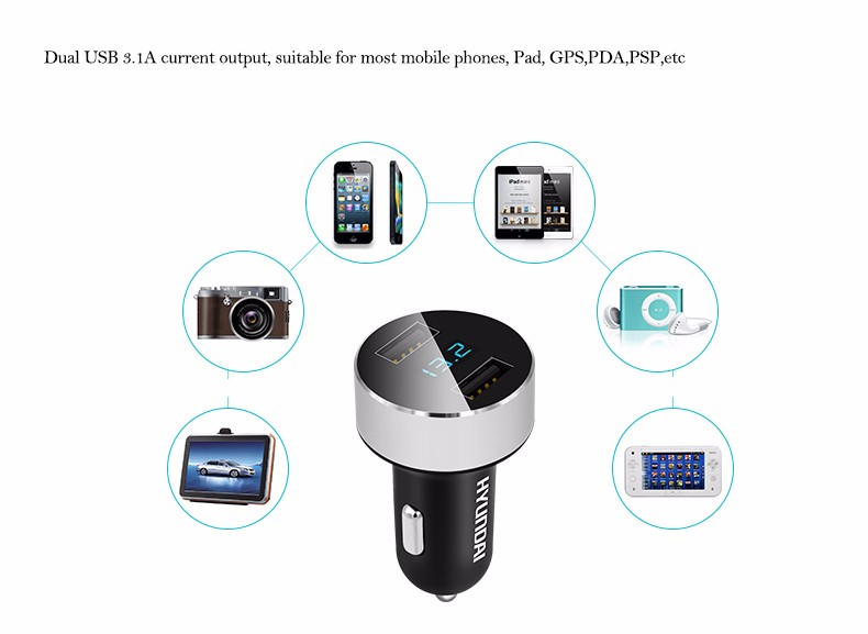 HYUNDAI Car Charger 5V 3.1A Quick Charge Dual USB Port LED Display Cigarette Lighter Phone Adapter Car Voltage Diagnostic