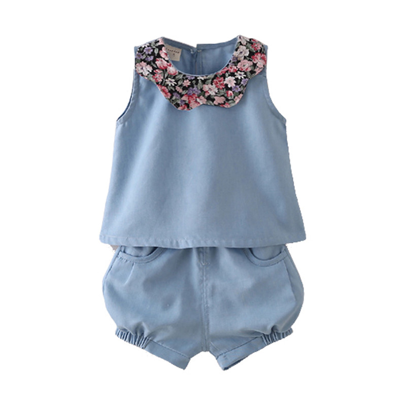 Baby girl clothes summer new girls target sets jean vest with a short two suits girls clothing sets(China (Mainland))