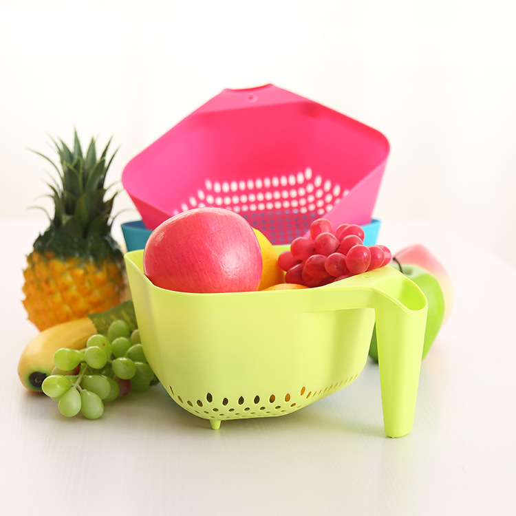 Free shipping 5 pcs/lot B07-3-09 home blue drain plastic vegetable basket with a handle fruits vegetable storage basket(China (Mainland))