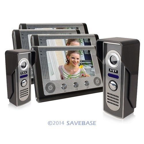"HOMSECUR 7"" LCD Video Doorphone 4-monitors 2-cameras IR Night Vision Unlock Function(China (Mainland))"