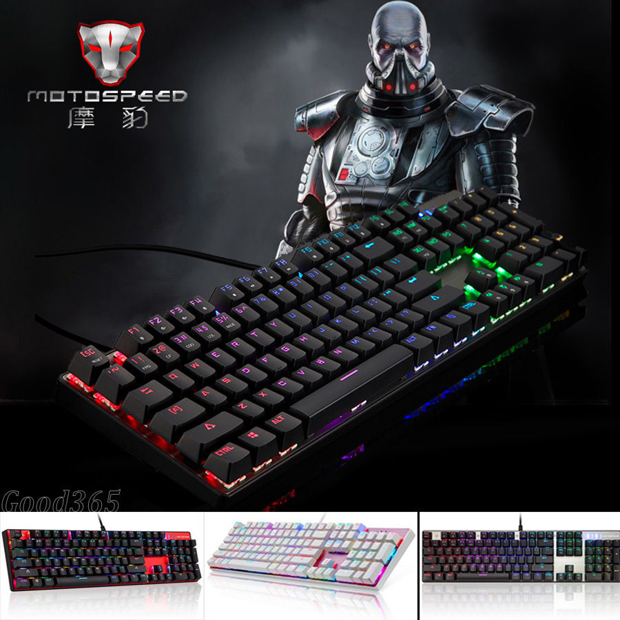 Motospeed CK104 Metal 104 Keys RGB Blue Switch Gaming Wired Mechanical Keyboard LED Backlit Anti-Ghosting for Gamer Computer(China (Mainland))