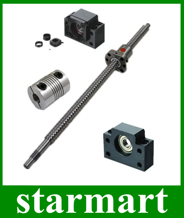 Rolled Ball screw 1605-L750mm-C7+BK12 BF12 +6.35*10mm coupler CNC - Superstar Electronics store