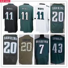 SexeMara,11 Wentz 7 Bradford 20 Dawkins 43 Sproles 91 Cox,man Size S-XXXL,Best Quality men green white black(China (Mainland))