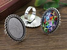 18x25mm 5pcs Antique Silver Plated Brass Oval Adjustable Ring Settings Blank/Base,Fit 18x25mm Glass Cabochons J4-22(China (Mainland))