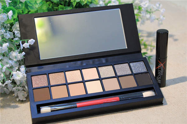 14 color full exposure palette make up eyeshadow kit set makeup shadows pinceis with brush and mascara free shipping(China (Mainland))