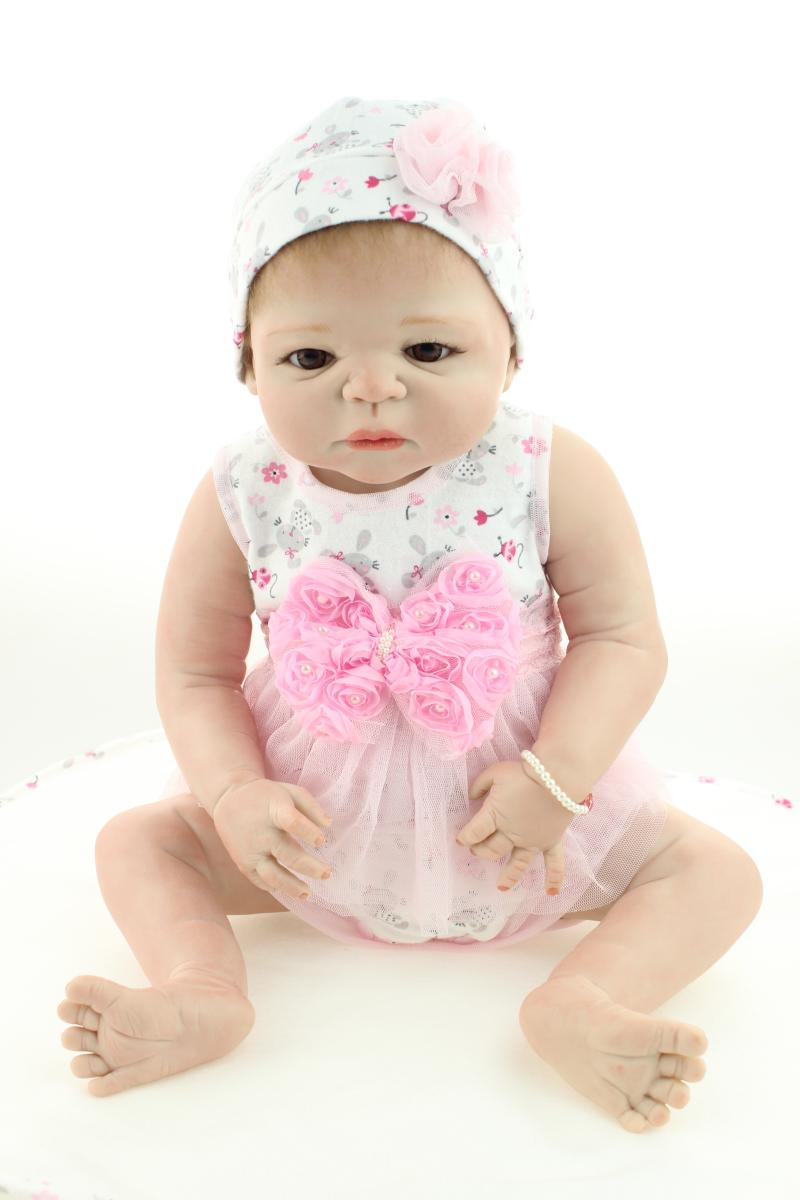 58CM baby real doll reborn  full body silicone reborn babies girl dolls rooted hair toys for children <br><br>Aliexpress