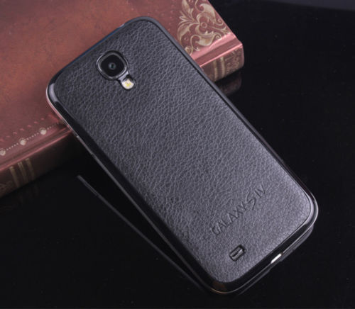 Black Hot Leather PU Back Battery Cover Door Case For Samsung Galaxy S4 IV i9500(China (Mainland))