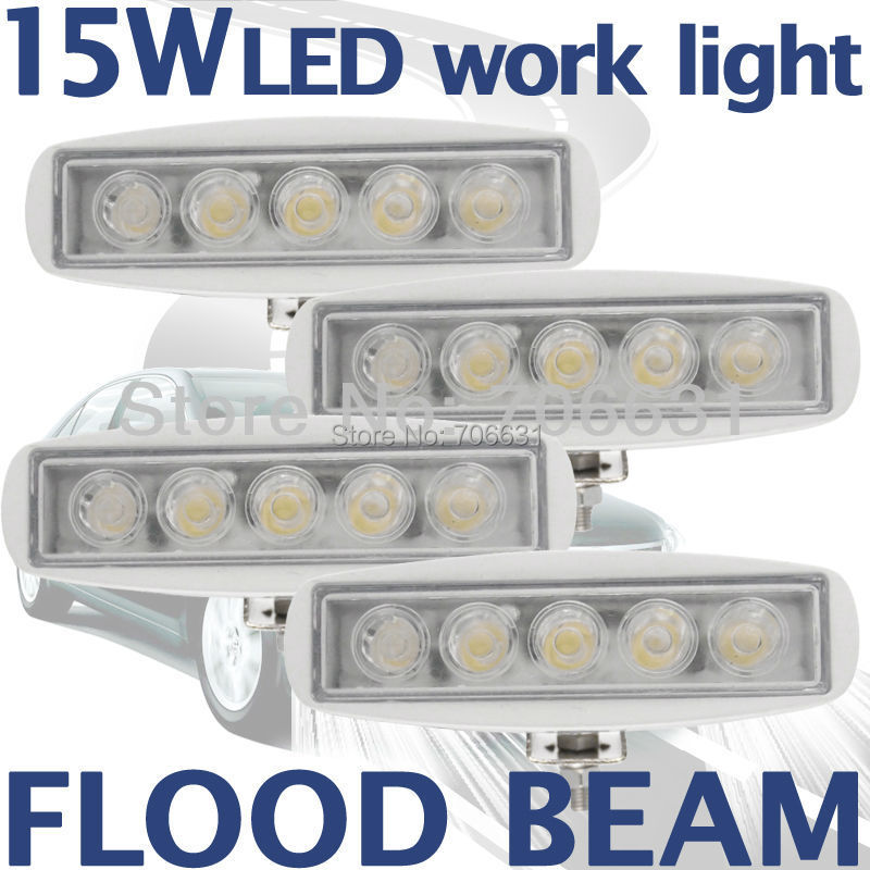 4pcs 15W White LED Off road Slim Work Light Flood beam Lamp 12V/24V for car boat Truck 4WD 4X4(China (Mainland))