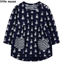 Little maven children brand clothing 2016 new autumn winter baby girls clothes kids Cotton rabbit print pocket black dress L005