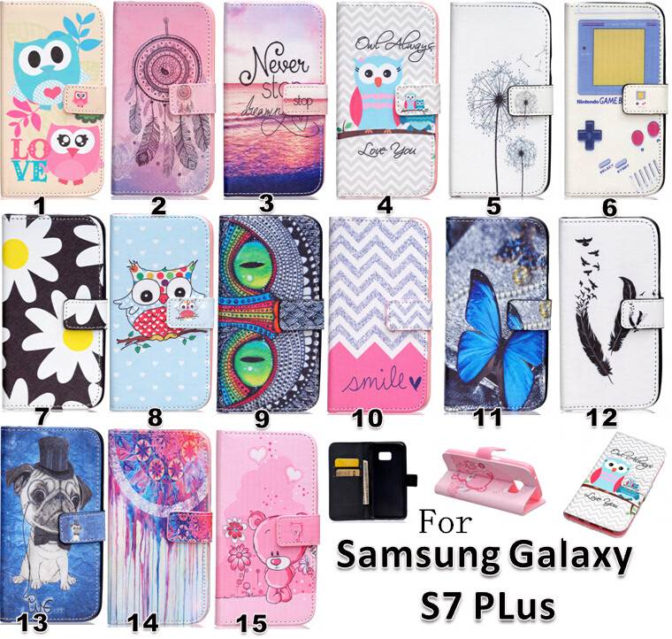 2016 Hot Fashion Patterns Cartoon Stand Style Wallet Flip PU Leather Case For samsung galaxy S7 Plus Phone Cases Cover Dog(China (Mainland))