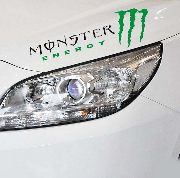 2015 hot SALE personalized car stickers reflector lamp eyebrow light brow Mnster Drift Monter Footprints ALL CAR FREE SHIPPING(China (Mainland))