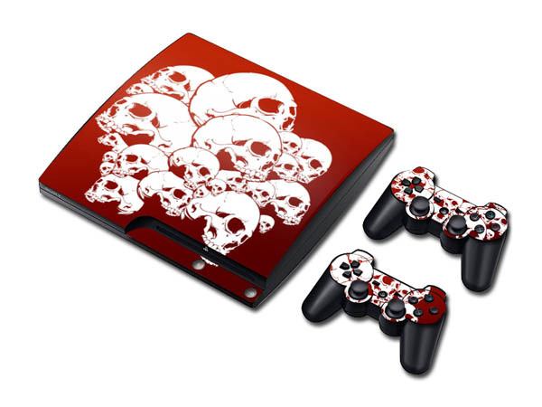New Arrival Red Skull Skin Sticker for PS3 Controller Playsation 3 1 Set Skin Sticker for PlayStation 3 PS3 Slim Console Cover(China (Mainland))