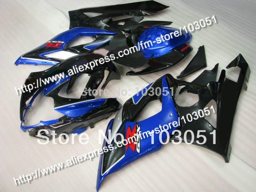 Injection molding custom for 2005 suzuki gsxr 1000 fairings K5 2006 GSXR 1000 fairing 05 06 glossy black with dark blue Dw11(China (Mainland))