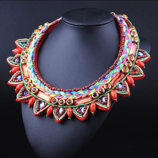Горячая ручной многоцветные веревка прочный ожерелье африка этническая колье нагрудник ожерелье женщины уникальных ювелирных изделий дешевые оптовая продажа для женщин