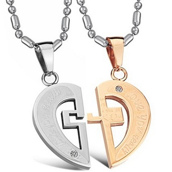 Fashion His & Her Promise Jewelry 316L Stainless Steel Pendant Necklace Romantic Matching Love Heart Cross CZ Wedding Jewelry