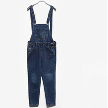 2014 New Free shipping Plus size Korean New Womens Jumpsuit Denim Overalls Casual Skinny Girls Pants