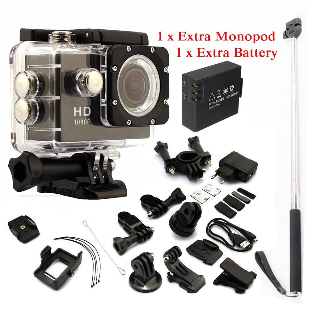 gopro hero 3 style Full HD DVR SJ4000 video Sport go pro camera Sport Helmet Action Camera Waterproof DV Two battery+monopod<br><br>Aliexpress