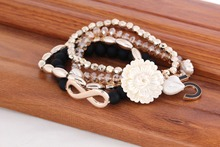 2014 Pulseira Fashion Flower Multilayer Bracelets For Women Crystal Top Quality Stretch Hot New Products European And American(China (Mainland))