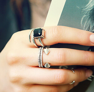 2015 antique plated punk ring set High Quality! Hollow gem rivet Mid Finger Knuckle Ring Set women lovers - Double H Fashion Boutique( DHFB store)