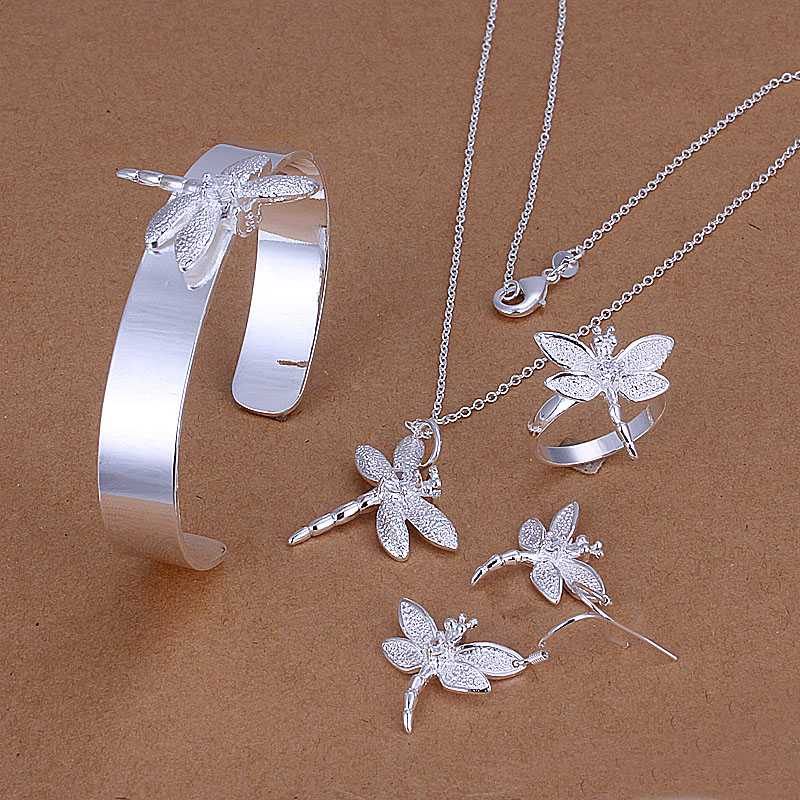 Factory price top quality 925 sterling silver dragonfly jewelry sets necklace bracelet bangle earring ring free shipping SMTS276(China (Mainland))