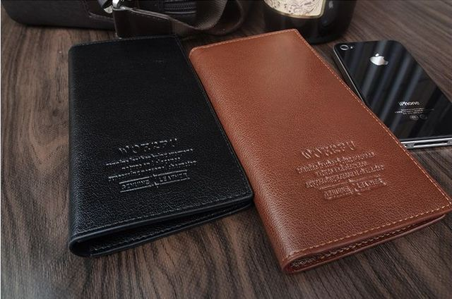 Free shipping 100% NEW Mens Black Real Genuine Leather wallet  Coin Purse Clutch Wallet soft billfold gentleman purse