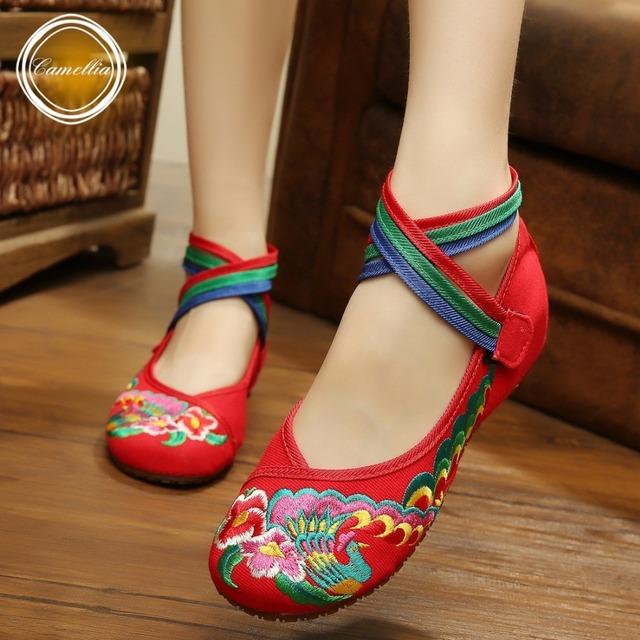 Новинка женская обувь китайский стиль мэри джейн квартиры вышивка свободного покроя ...