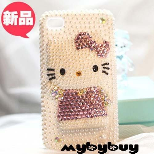 3D Hello Kitty Diamond Bling Case For iPhone 4 4S 4G. IP4867 w/LCD Screen Protector
