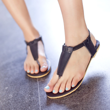 Plus Size 34-43!!! 2015 New Hot Fashion Summer Sweet PU Women Flats Sandals Casual Solid Ankle Strap Women Shoes Black Beige SSS(China (Mainland))