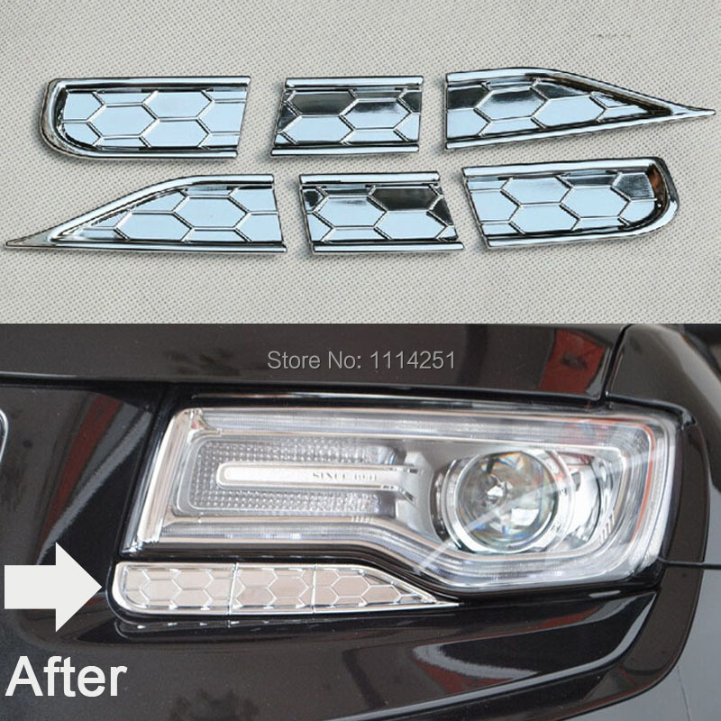 Free ABS Chrome Shipping Front Headlights Spray Cover Trims Decoration 6pcs/Set For Grand Cherokee 2014(China (Mainland))