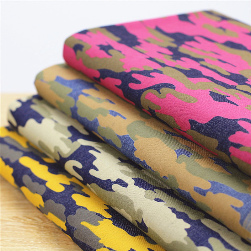 4 color Camouflage printed denim fabric Elastic cotton jeans fabric(China (Mainland))