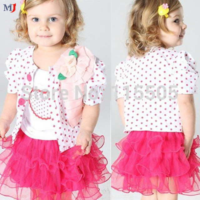 2014 Sale Baby Girls Clothing Set Children set kids suits yarn skirt halter coat  jacket + shirt+skirt 3pcs dot heart tutu dress