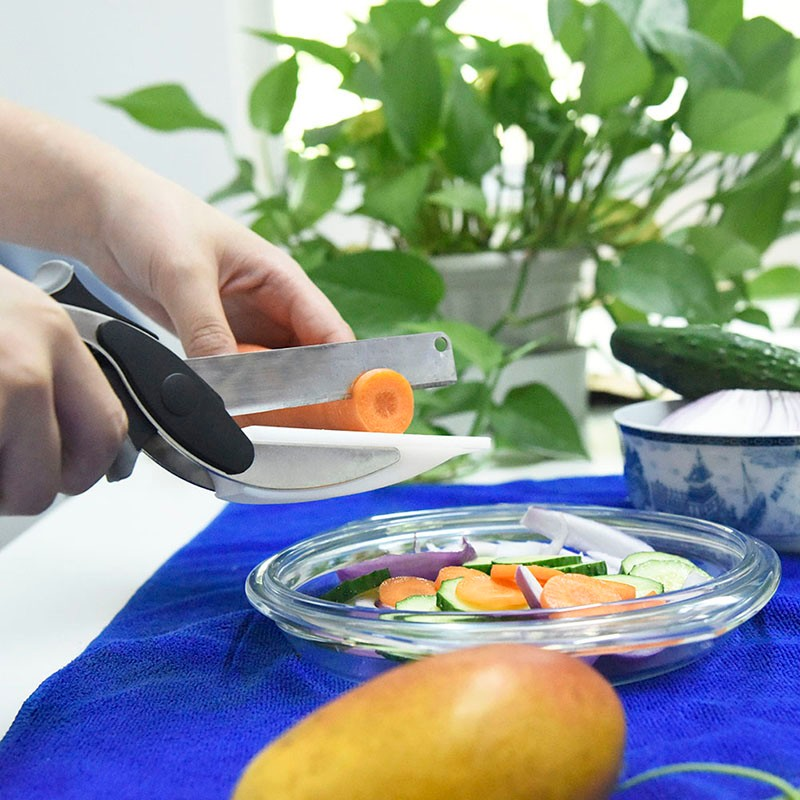 Buy 2 in 1 Kitchen Knife & Cutting Board Scissors Stainless Steel Kitchen Food Cutter for Meat Vegetable cheap