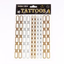 T001 006 NEW Design 2015 Sex Flash Temporary Tattoo Necklace Choker Bracelet Tattoo Flash Golden Metalic