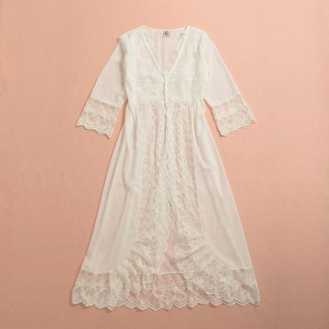 Романтический Женщины белые кружева Длинные Robe Sexy кружева белья Мечты Nightgowns ...