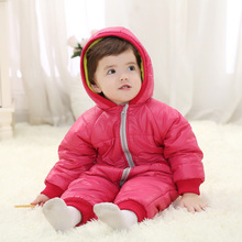 TOP Quality New 2014 Baby Long-Sleeved Romper Suit Winter Newborn Boys Girls Warm Clothes infant Hooded jumpsuit for 0-2 years()
