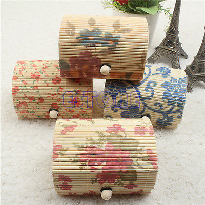 1PC Necklace/Ring/Earrings Display Bamboo Wooden Jewelry Storage Boxes Case Gift