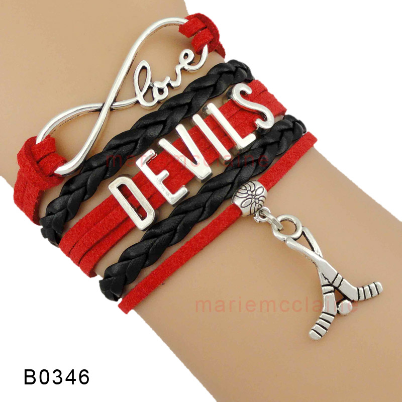 (10 Pieces/Lot) Infinity Love NHL New Jersey Devils Ice Hockey Bracelet Red Black Gift for Ice Hockey Fans Custom Drop Shipping(China (Mainland))