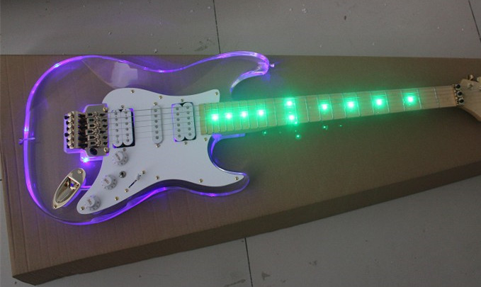 Custom Shop Acrylic Body Green LED Maple Fingerboard Stratocaster Standard Electric Guitar H-S-H Pickups(China (Mainland))
