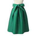 Women Autumn Pleated Bow Midi Skirt Solid Burgundy Green Blue Thick Fashion Lined Mid Calf Length