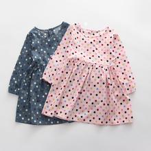 3-7years Girls Clothes Children Dress Long Sleeve Cotton Polka Dot Dress for Autumn 2016 Fashion Girl Dress Casual Kids Dress(China (Mainland))