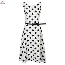 Clothink Women White/Black Contrast Polka Dot Print Belt Waist Sleeveless Skater Dress 2016 Brand Fashion Elegant Career Dress(China (Mainland))