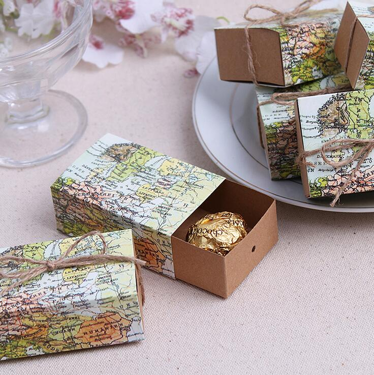 "20pcs Travel Theme ""Around the World"" Paper Map Favor Box Candy Boxes Love All World wedding Boxes Favors Wedding Accessories(China (Mainland))"
