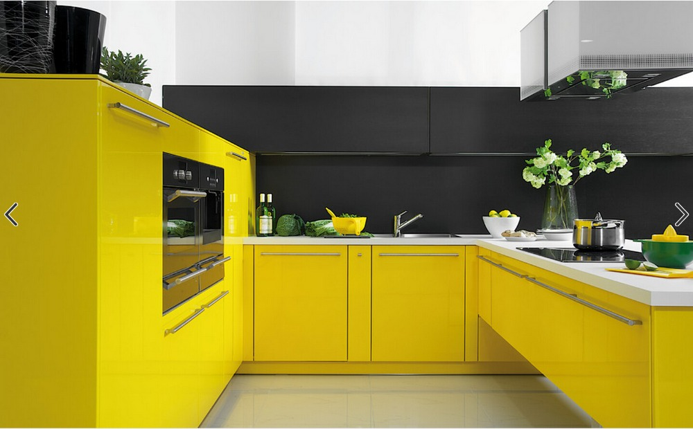 Kitchen cabinets contemporary yellow color high gloss lacquer kitchen