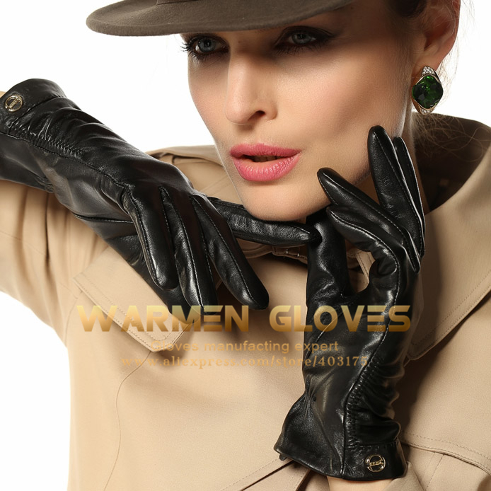 ELMA Folds Gold Plated Logo Women's Winter Warm 100%Lambskin Leather Gloves(China (Mainland))