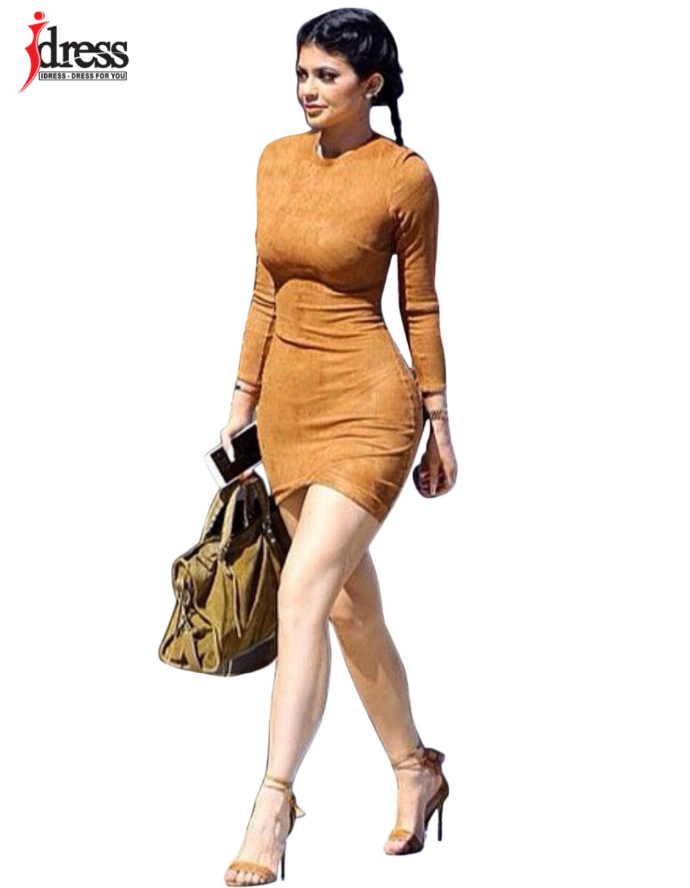 IDress 2016 Grey Brown Faux Suede Dress Bodycon Party Dresses Women Clothing Sexy Club Bandage Long Sleeve Autumn Dress Plus Size (2)