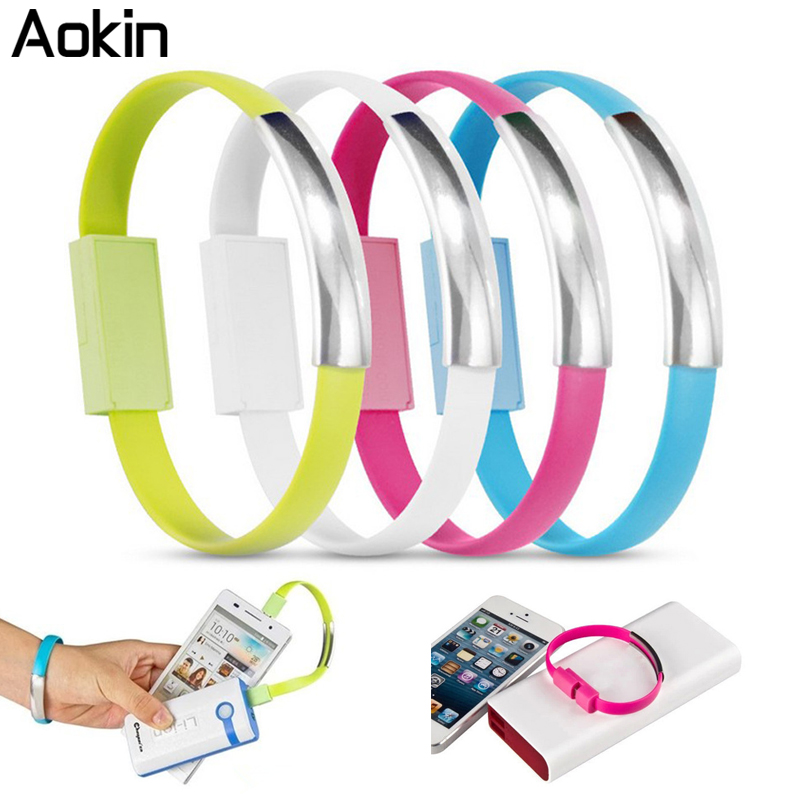 Aokin Cable USB Bracelet Phone Cables Data Sync Charging For Phone 5 5S 6 6S Plus Micro USB Cable For Samsung Xiaomi HTC(China (Mainland))