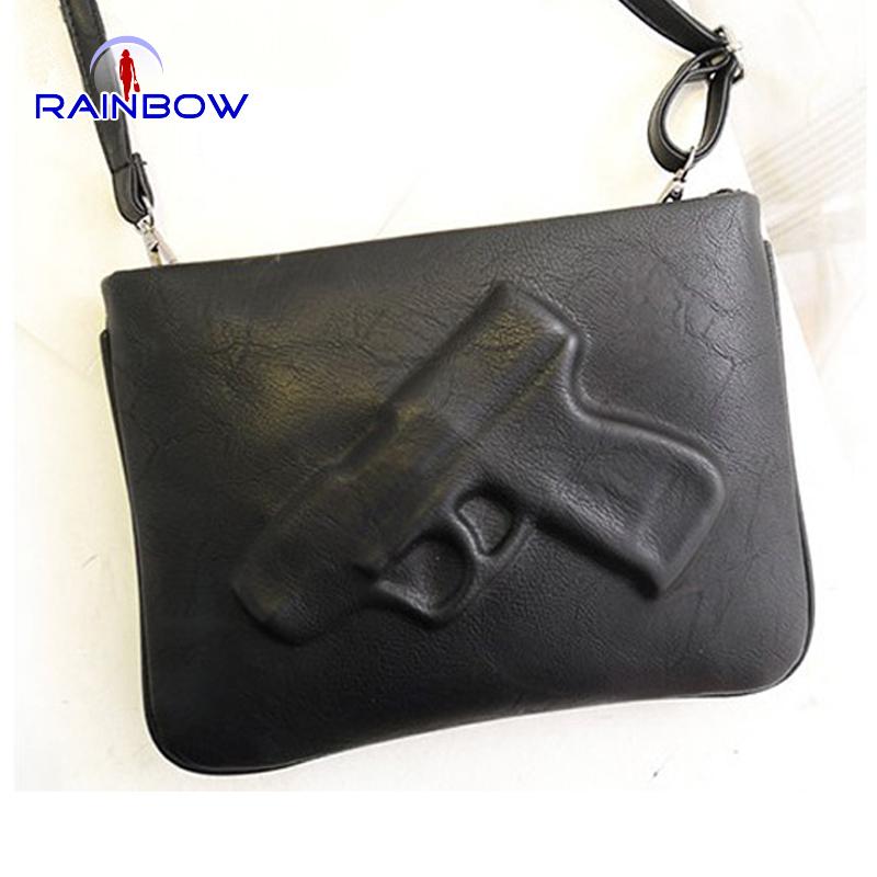 2015 women's handbag fashion pistol bag day clutches envelope bag preppy style vintage messenger gun 3D bags(China (Mainland))