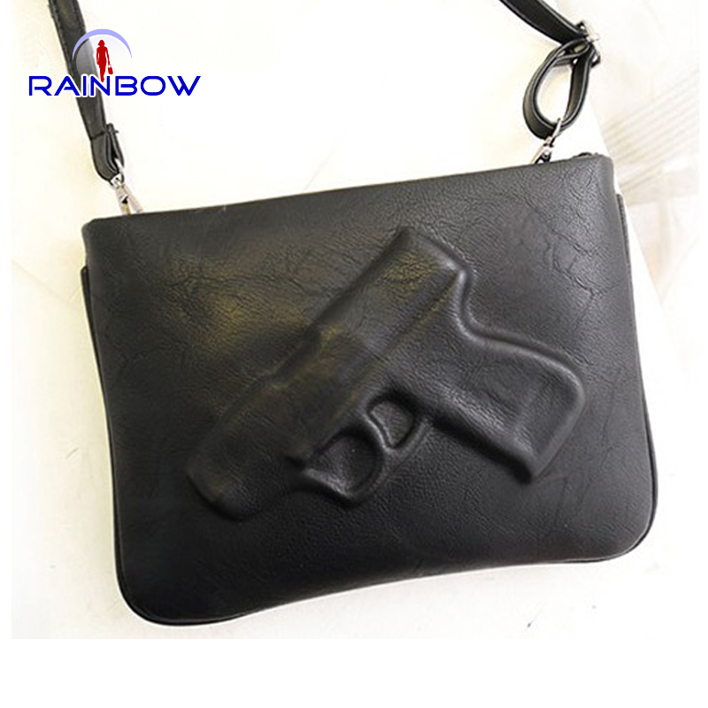 2015 women's handbag fashion pistol bag day clutches envelope bag preppy style vintage messenger gun 3D bags(China (Mainland))