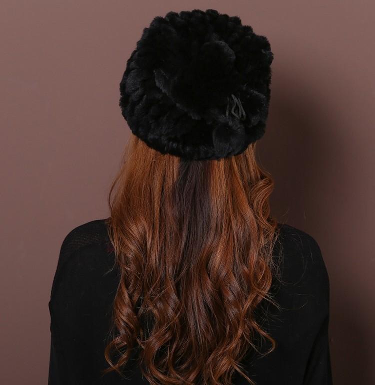 Dl-10841 Top Fashion Solid Adult Fashion Women 2016 New Winter Rex Rabbit Fur Hat Straw Knit Scarf Dual Female Collars