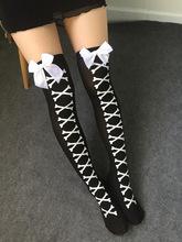Women Sexy Cosplay Striped Knee stockings Japanese Printed Thigh High stockings Women Knee Pantyhose Skeleton(China (Mainland))